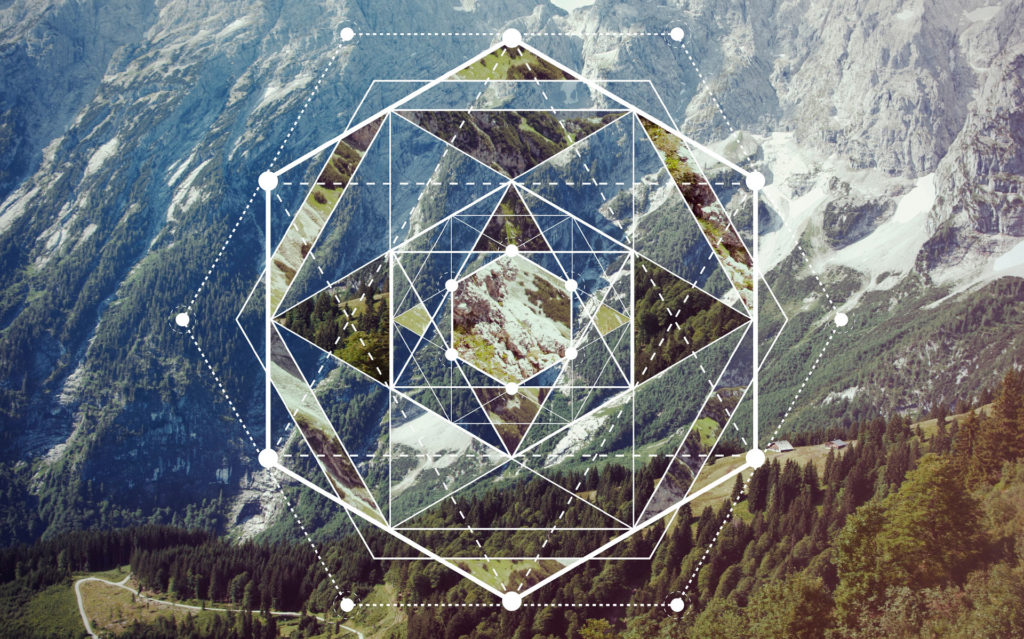 Sacred Geometry symbol and a landscape collage with mountains