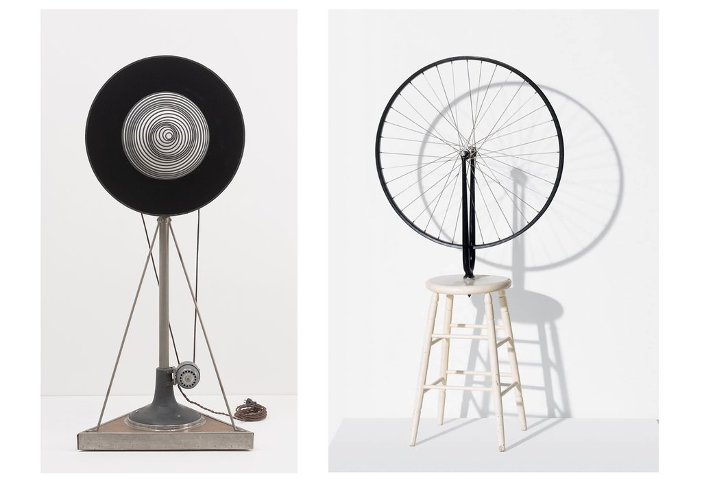 Right: The first kinetic sculpture is said to be Marcel Duchamp's