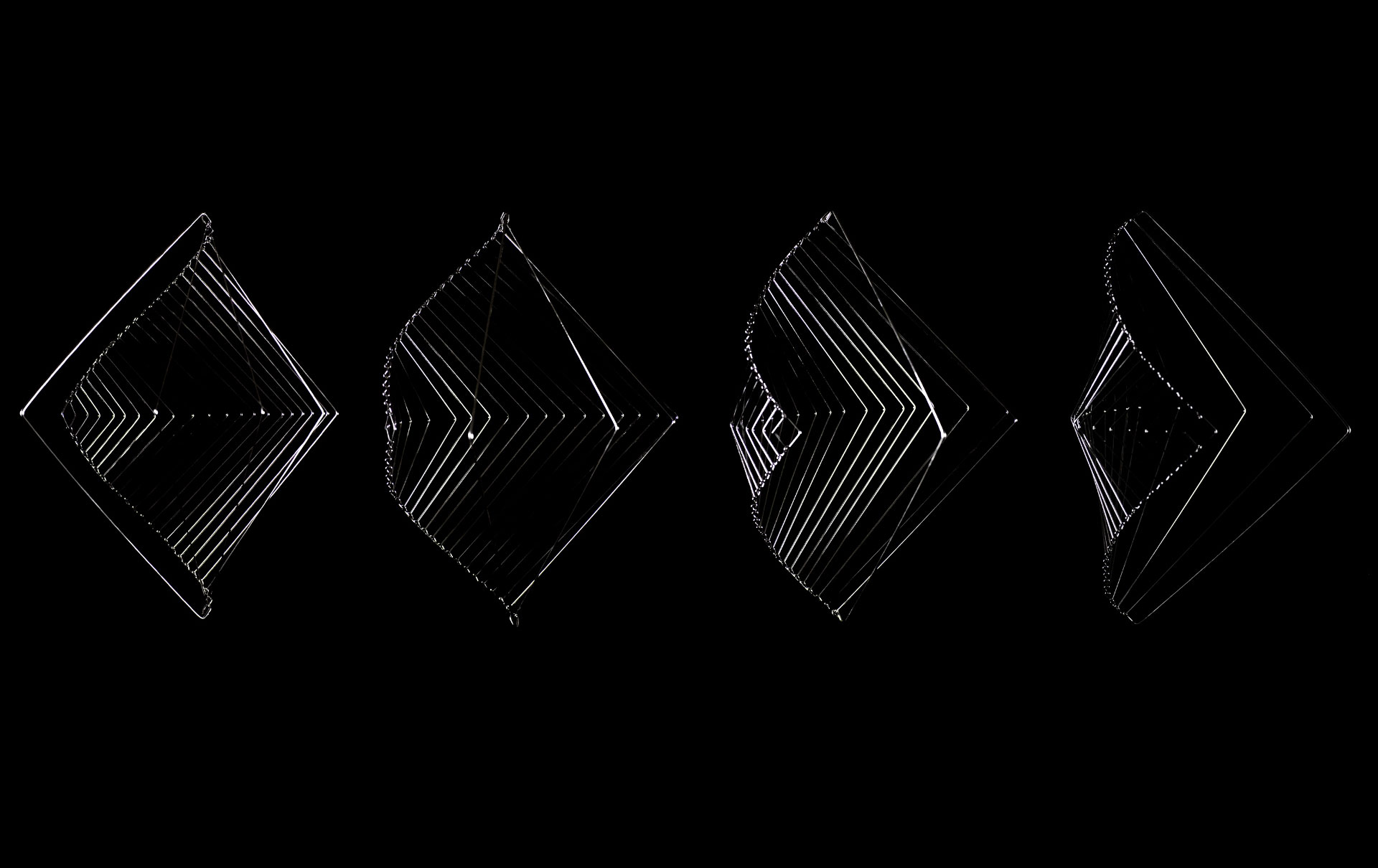Still images of the Square Wave kinetic mobile