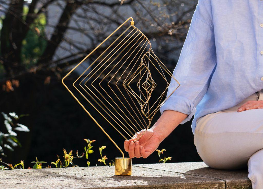 Square Wave 24K gold as a garden decor
