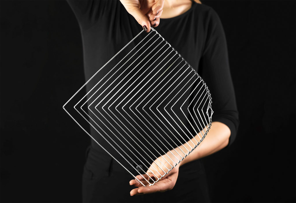 Metallic Silver Square Wave kinetic spinner by Kinetrika