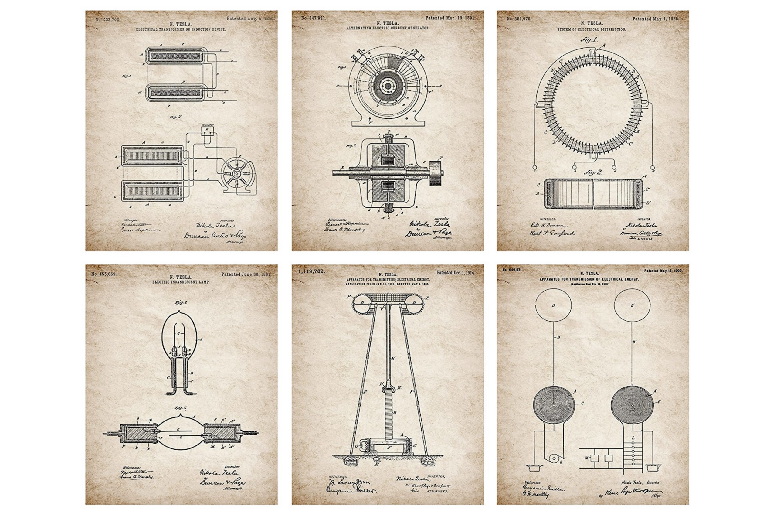 Patented inventions of Tesla