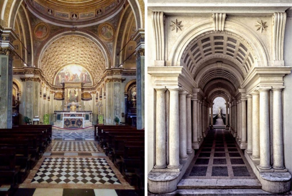 The Italian church of Saint Satyrus (left) and Borromini's forced perspective gallery (right)